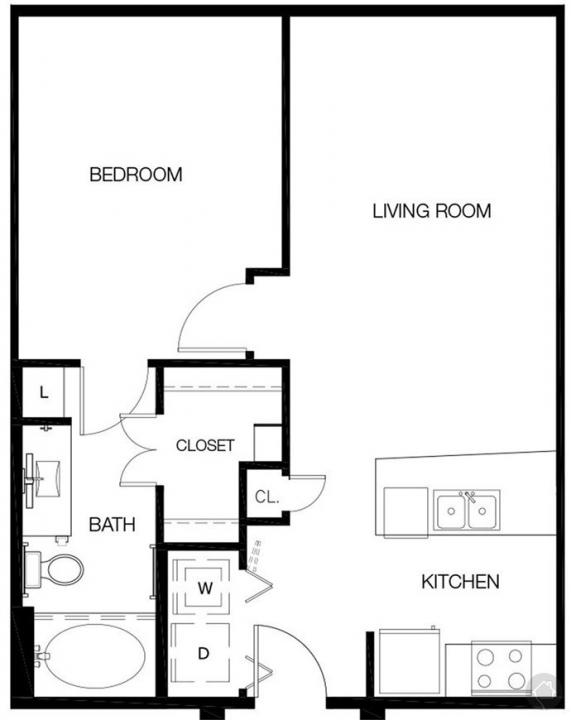 1/1 673 sqft floor plan