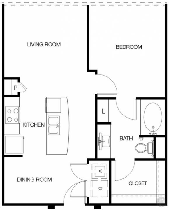 1/1 702 sqft floor plan