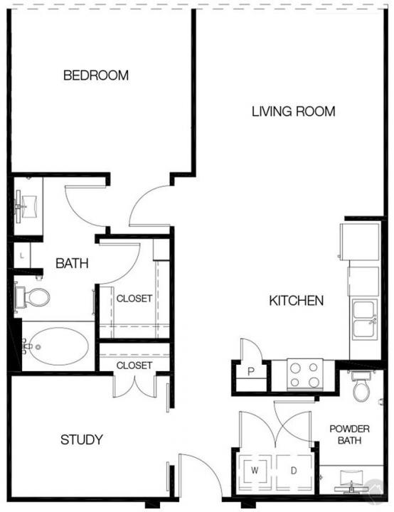 1/1.5 908 sqft floor plan