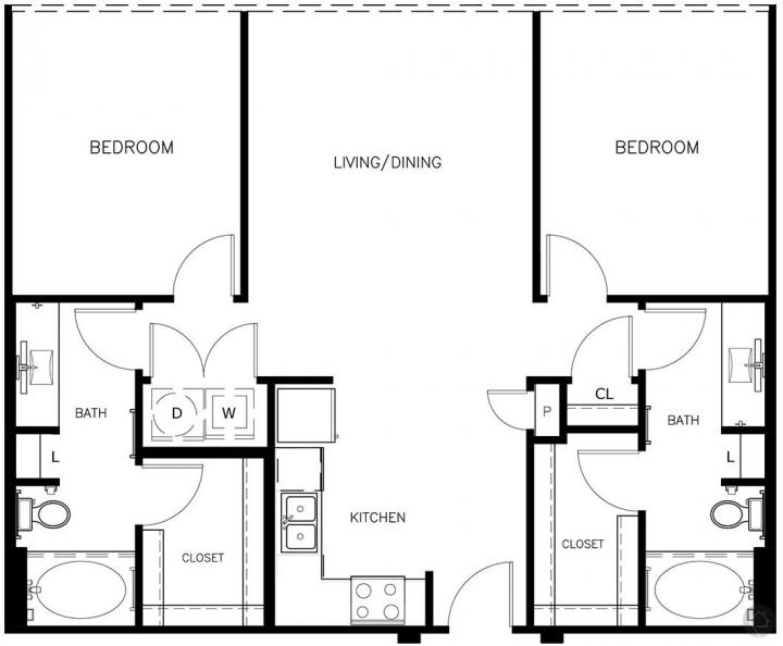 2/2 1051 sqft floor plan