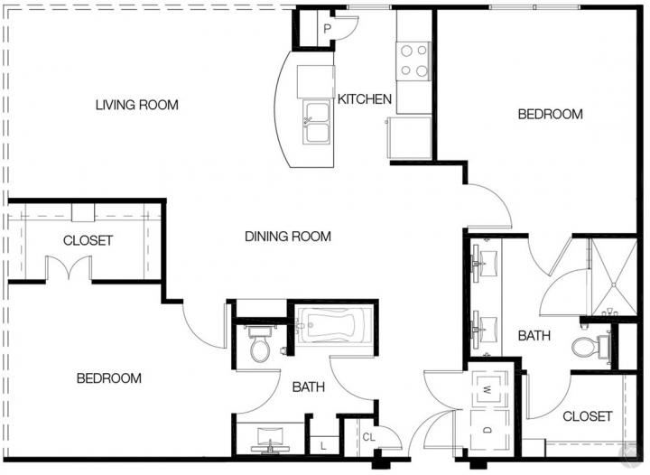 2/2 1374 sqft floor plan