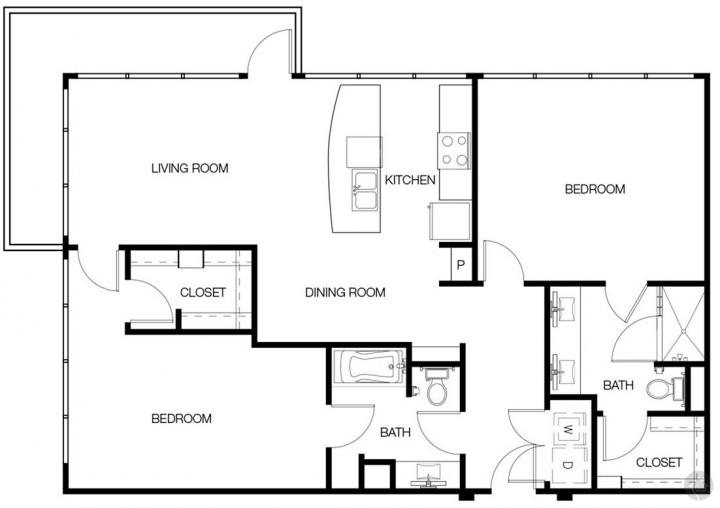 2/2 1287 sqft floor plan