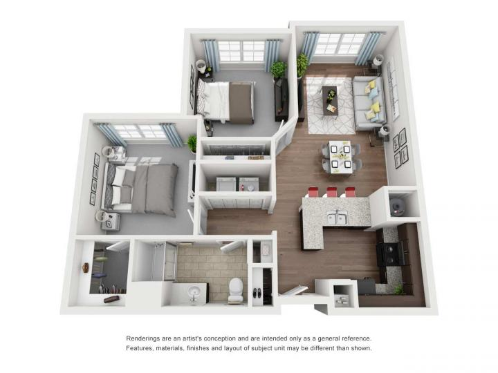 2/1 942 sqft floor plan