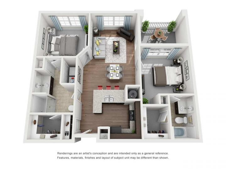 2/2 1015 sqft floor plan