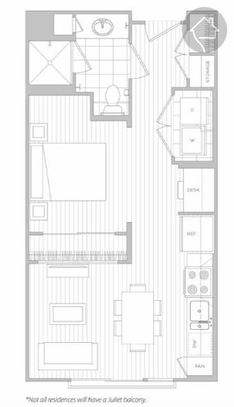 0/1 484 sqft floor plan