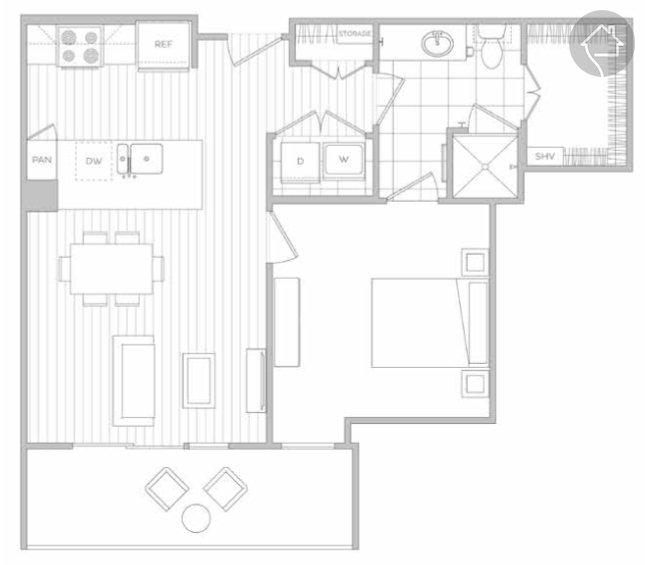 1/1 677 sqft floor plan