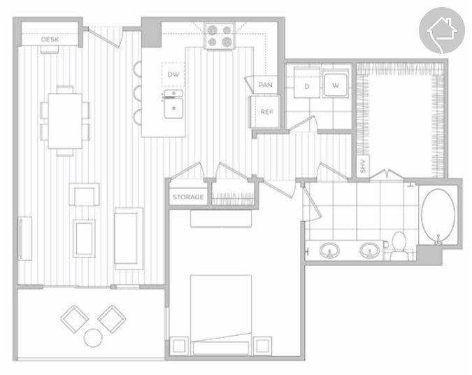 1/1 886 sqft floor plan