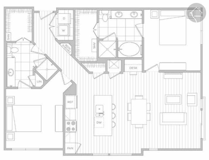 2/2 1295 sqft floor plan