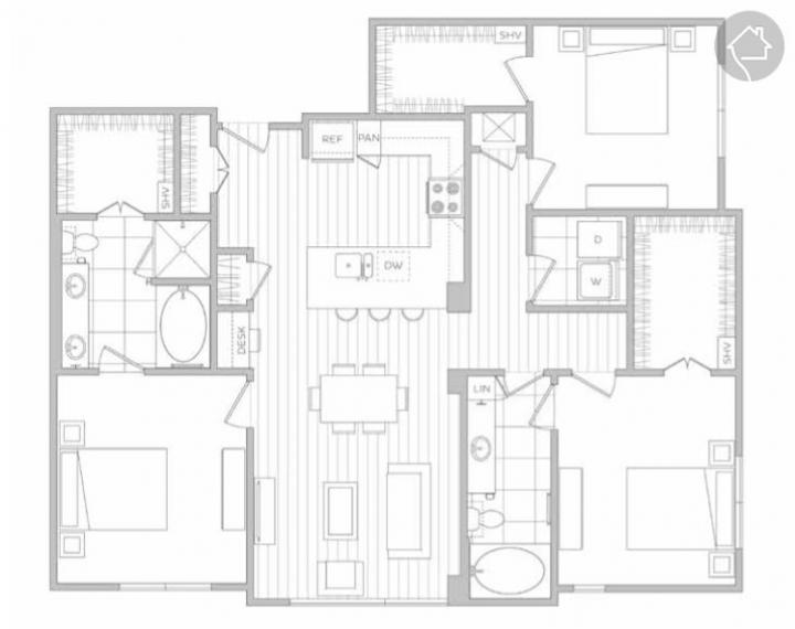 3/2 1476 sqft floor plan