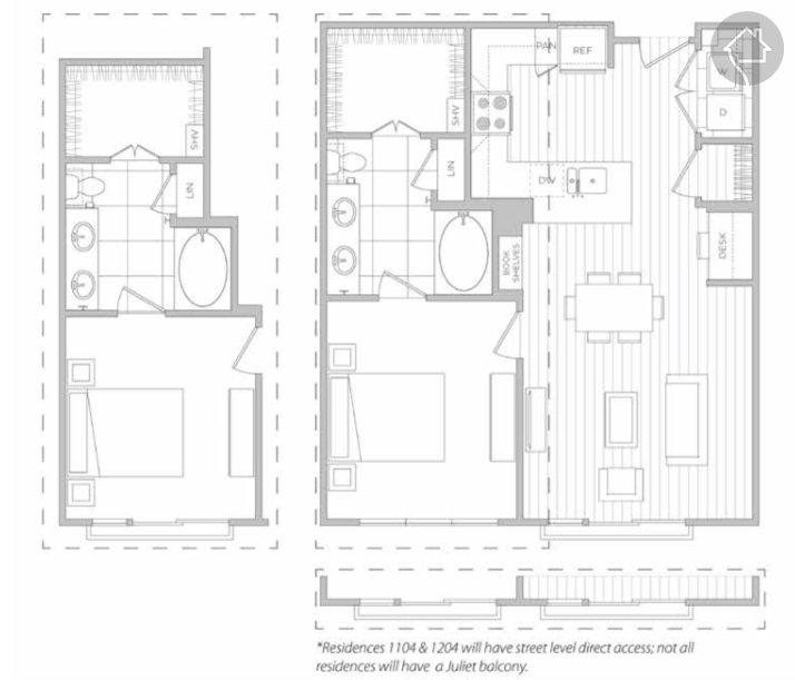 1/1 827 sqft floor plan