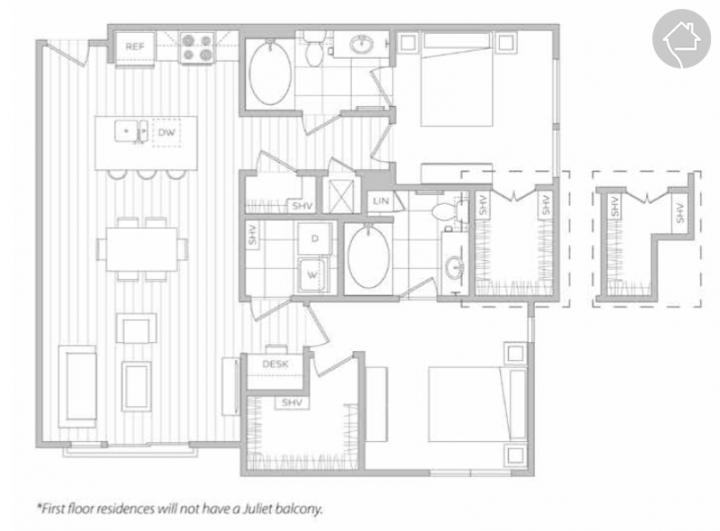2/2 1175 sqft floor plan
