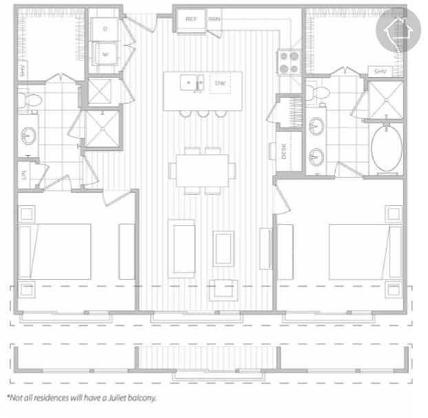 2/2 1195 sqft floor plan