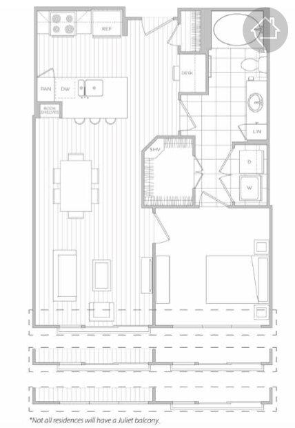 1/1 697 sqft floor plan