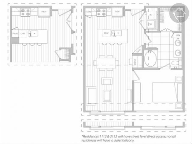 1/1 783 sqft floor plan