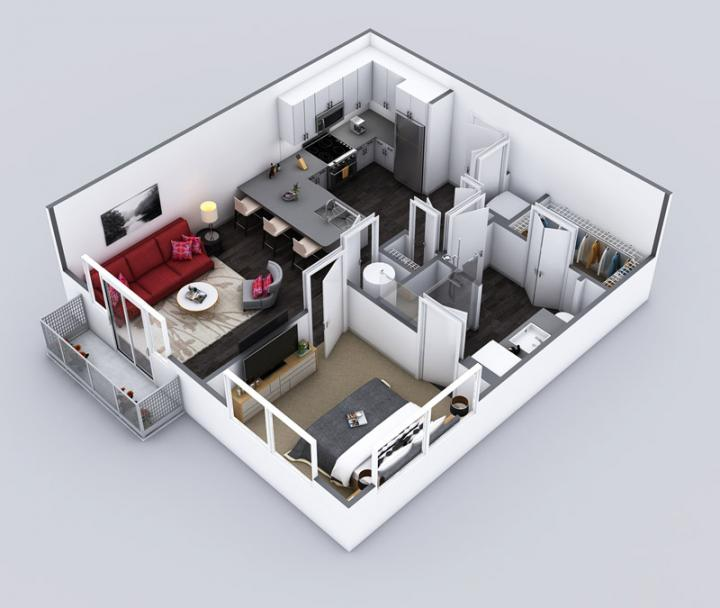 1/1 713 sqft floor plan
