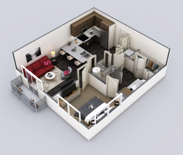 1/1 719 sqft floor plan