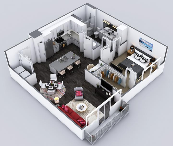 1/1 871 sqft floor plan