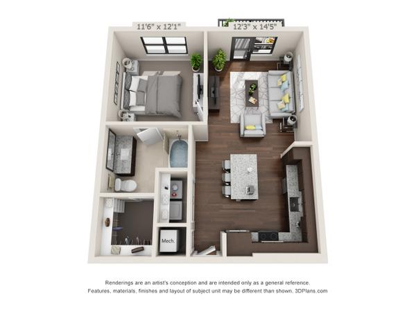 1/1 756 sqft floor plan