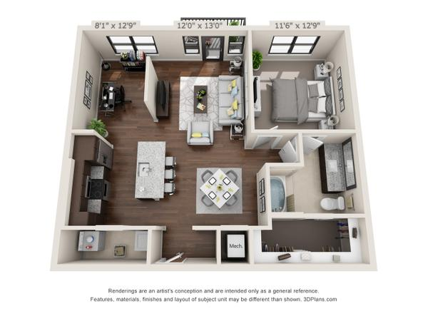 1/1 926 sqft floor plan