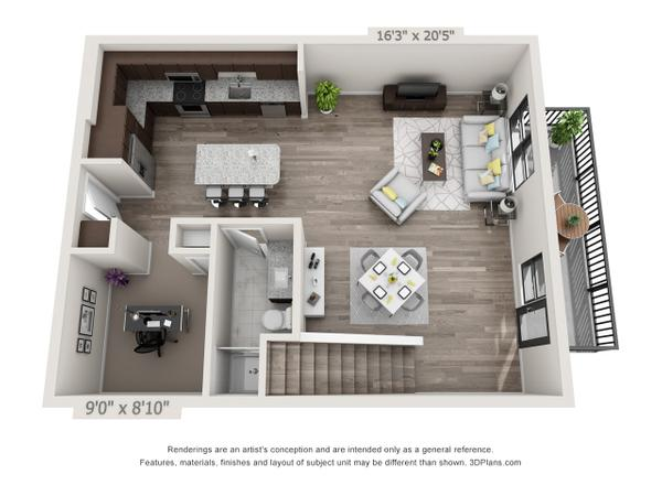 1/1.5 1158 sqft floor plan