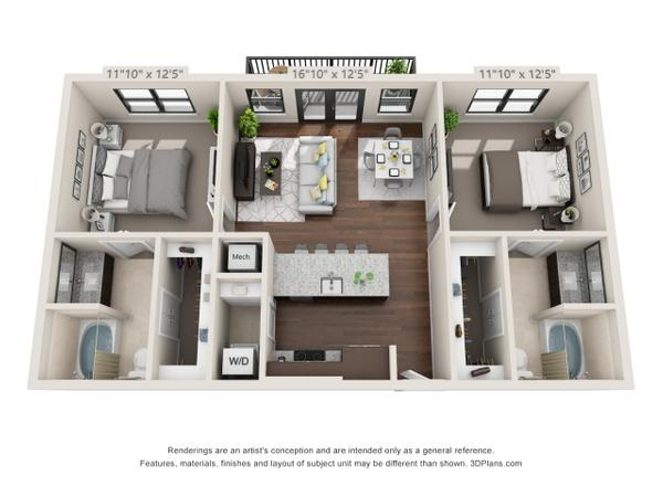 2/2 1006 sqft floor plan