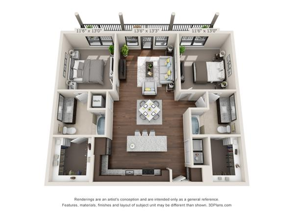 2/2 1216 sqft floor plan