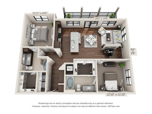 2/2 1303 sqft floor plan