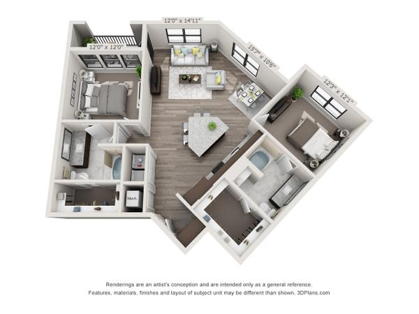 2/2 1230 sqft floor plan