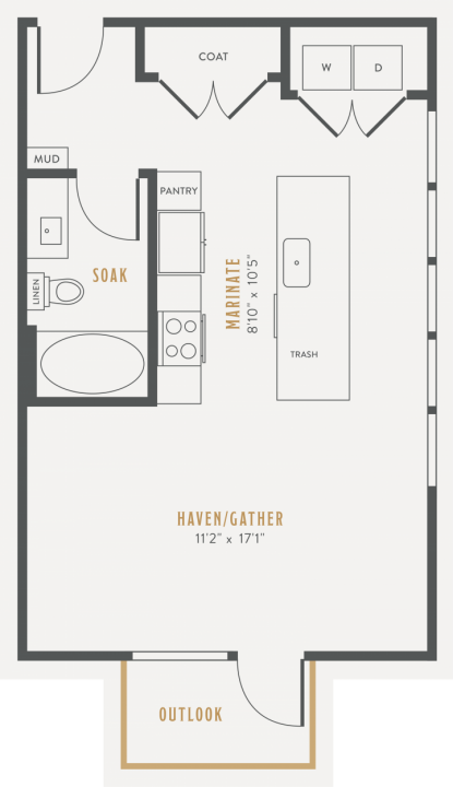 0/1 568 sqft floor plan