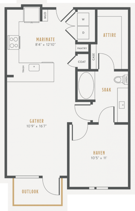 1/1 733 sqft floor plan