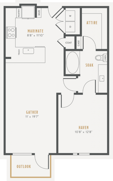 1/1 748 sqft floor plan