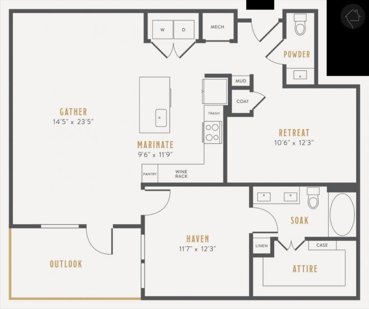 1/1.5 1112 sqft floor plan