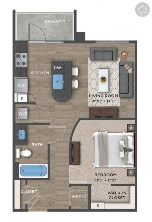 1/1 665 sqft floor plan