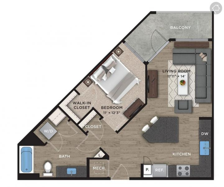 1/1 728 sqft floor plan