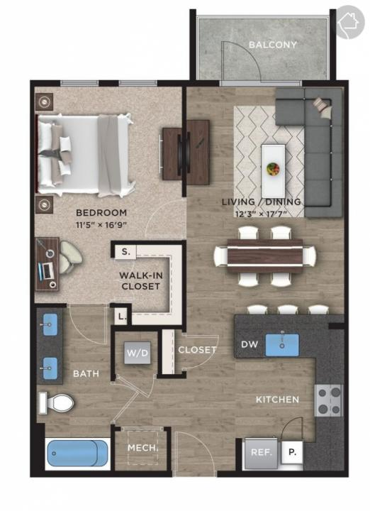 1/1 747 sqft floor plan