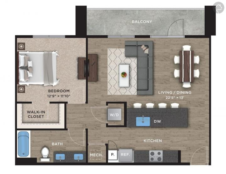 1/1 876 sqft floor plan