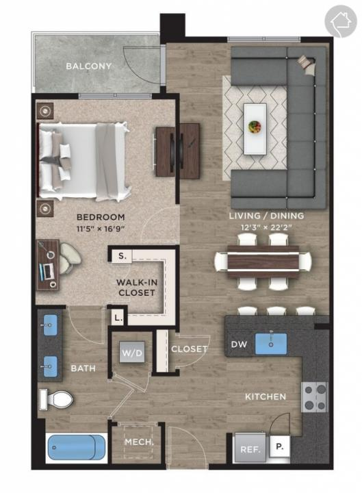 1/1 836 sqft floor plan