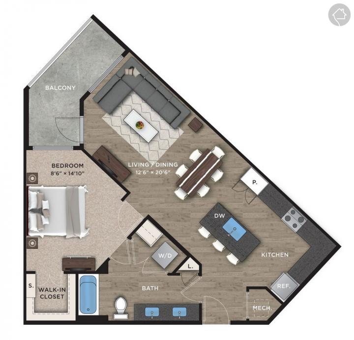 1/1 855 sqft floor plan