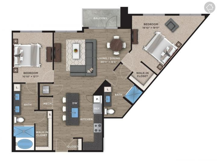 2/2 1285 sqft floor plan