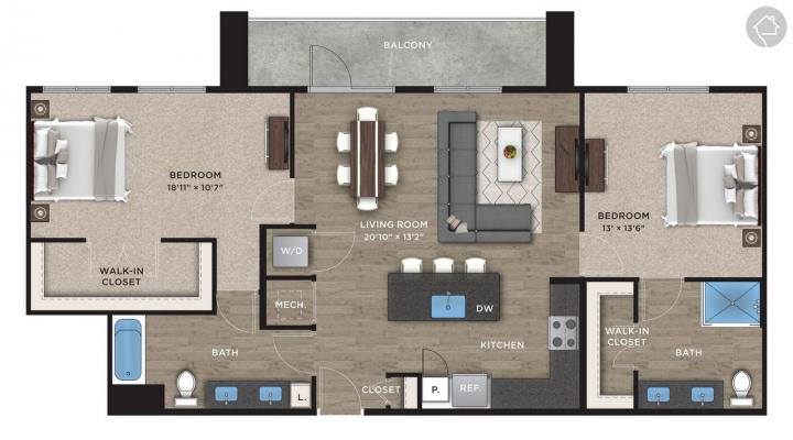 2/2 1214 sqft floor plan