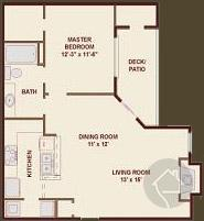 1/1 750 sqft floor plan