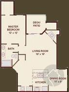 1/1 816 sqft floor plan