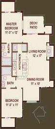 2/2 926 sqft floor plan