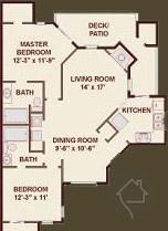 2/2 1029 sqft floor plan