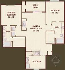 2/2 1068 sqft floor plan