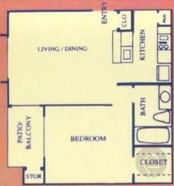 1/1 550 sqft floor plan