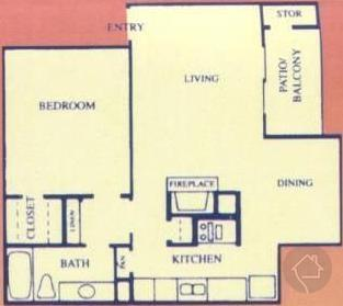 1/1 704 sqft floor plan