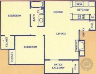 2/1 832 sqft floor plan