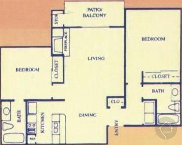 2/2 942 sqft floor plan