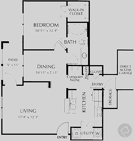 1/1 758 sqft floor plan